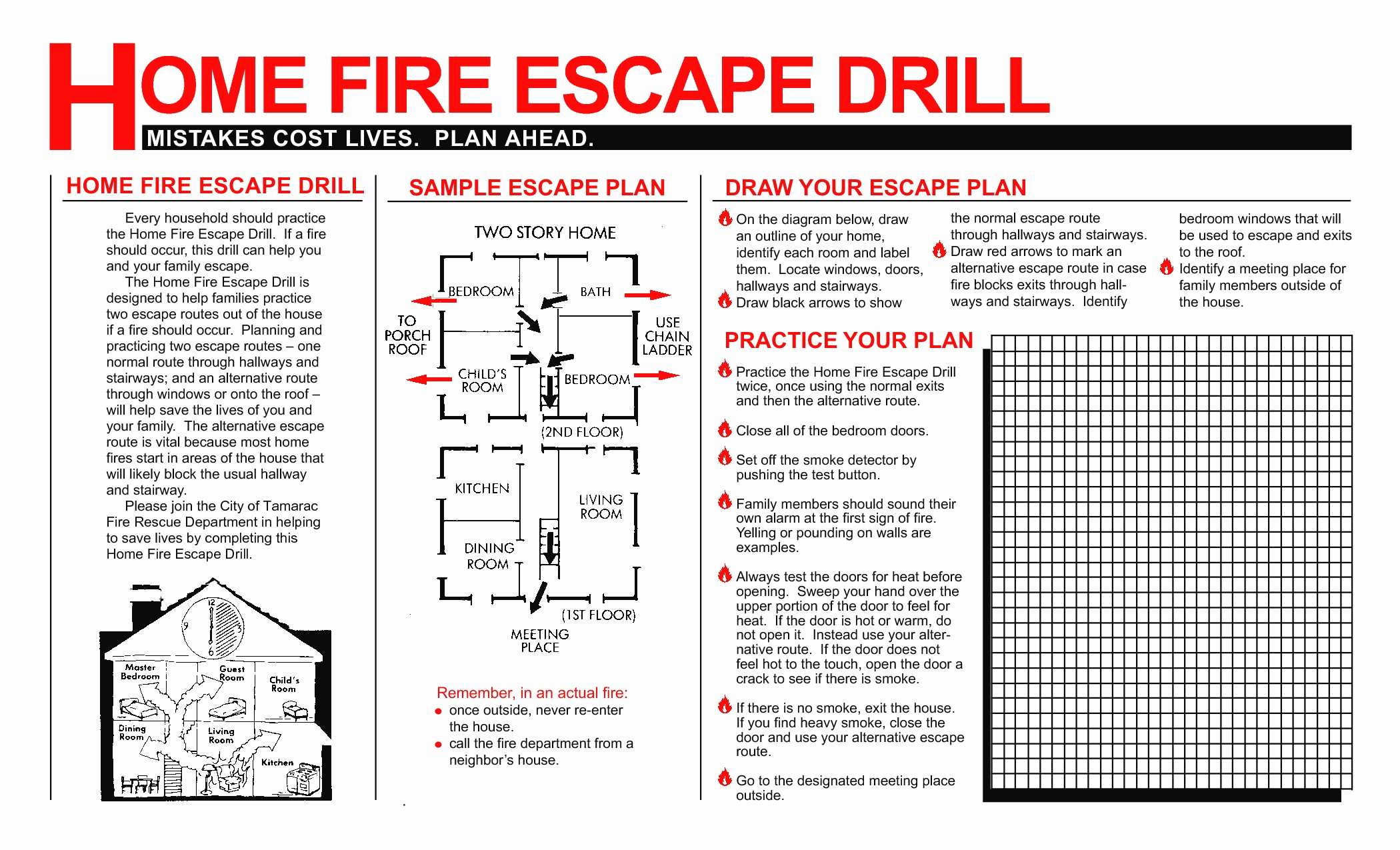 Printable Fire Escape Plan Template For New Free Printable Fire Escape Plan Template