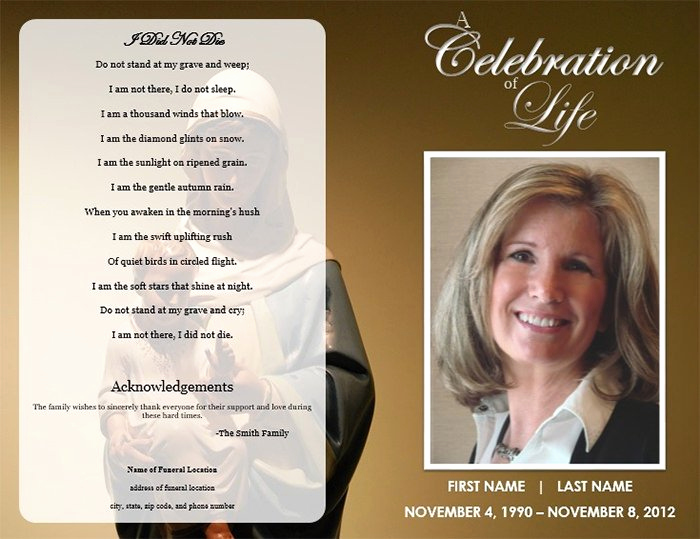 Free Printable Funeral Announcement Template Or 25 Funeral Program Templates Pdf Psd