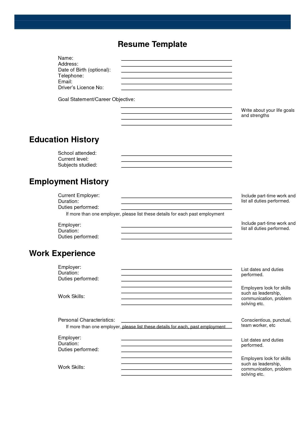Free Printable Resume Builder