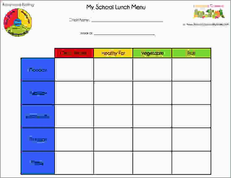 Free Printable Lunch Menu Template Cute 6 School Lunch Menu Template