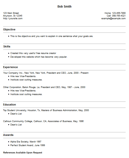 Free Resume Builder Sites