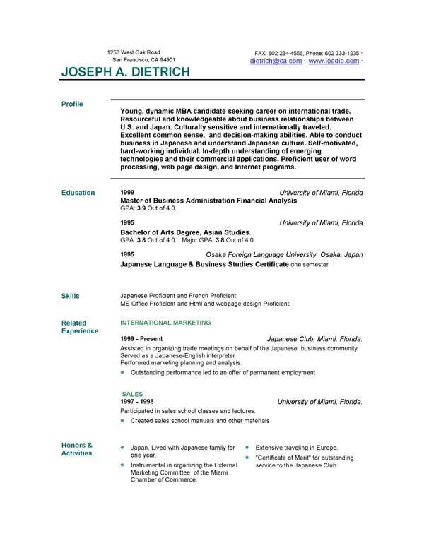 Free Resume Outline Download