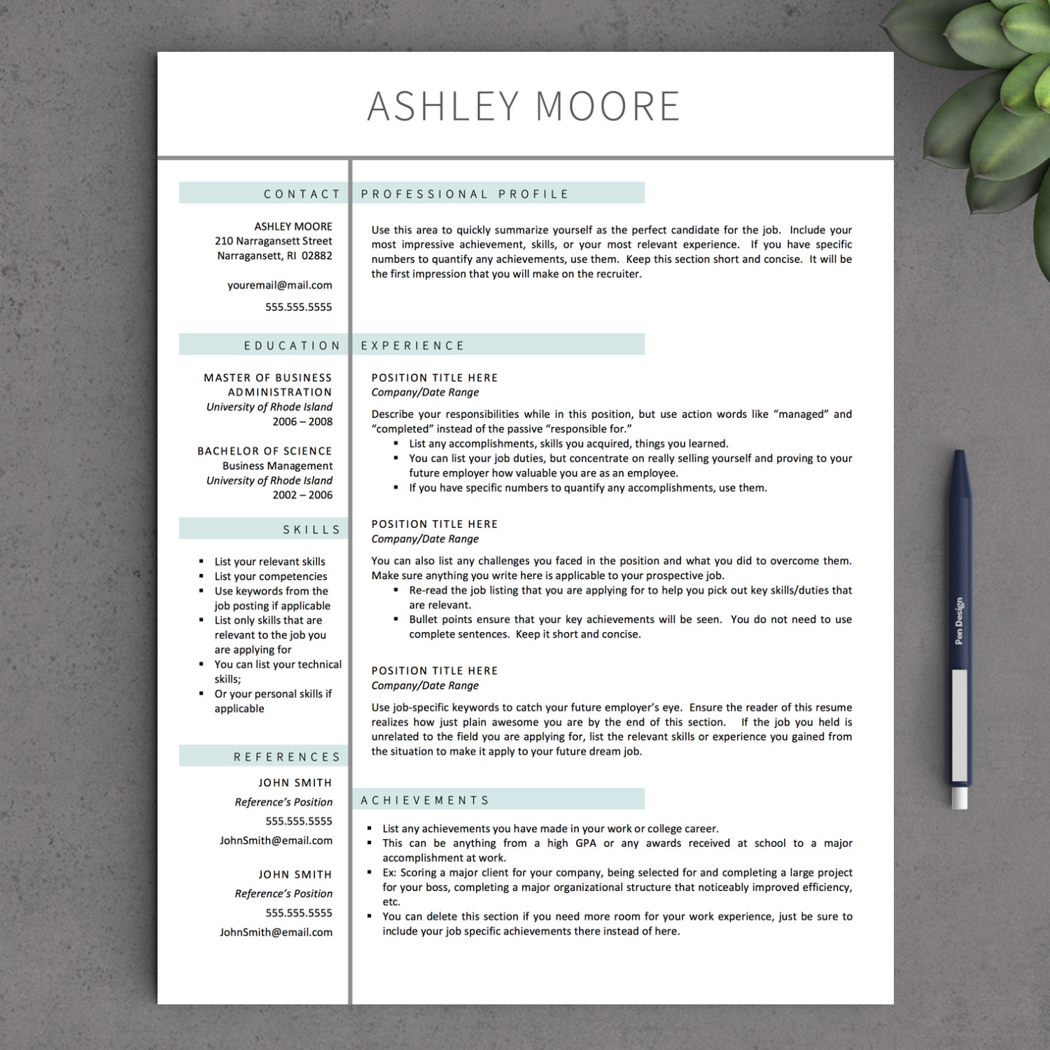 Free Resume Template For Mac Pages
