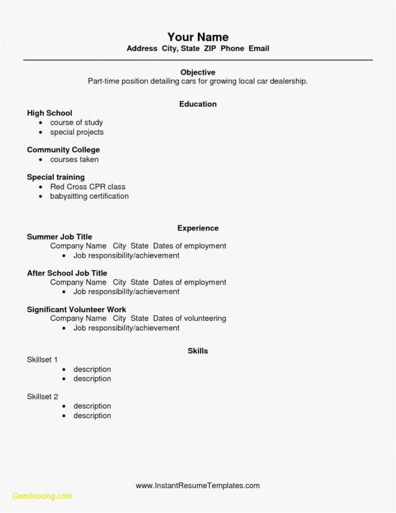 Free Resume Templates For High School Students – Thatretailchick