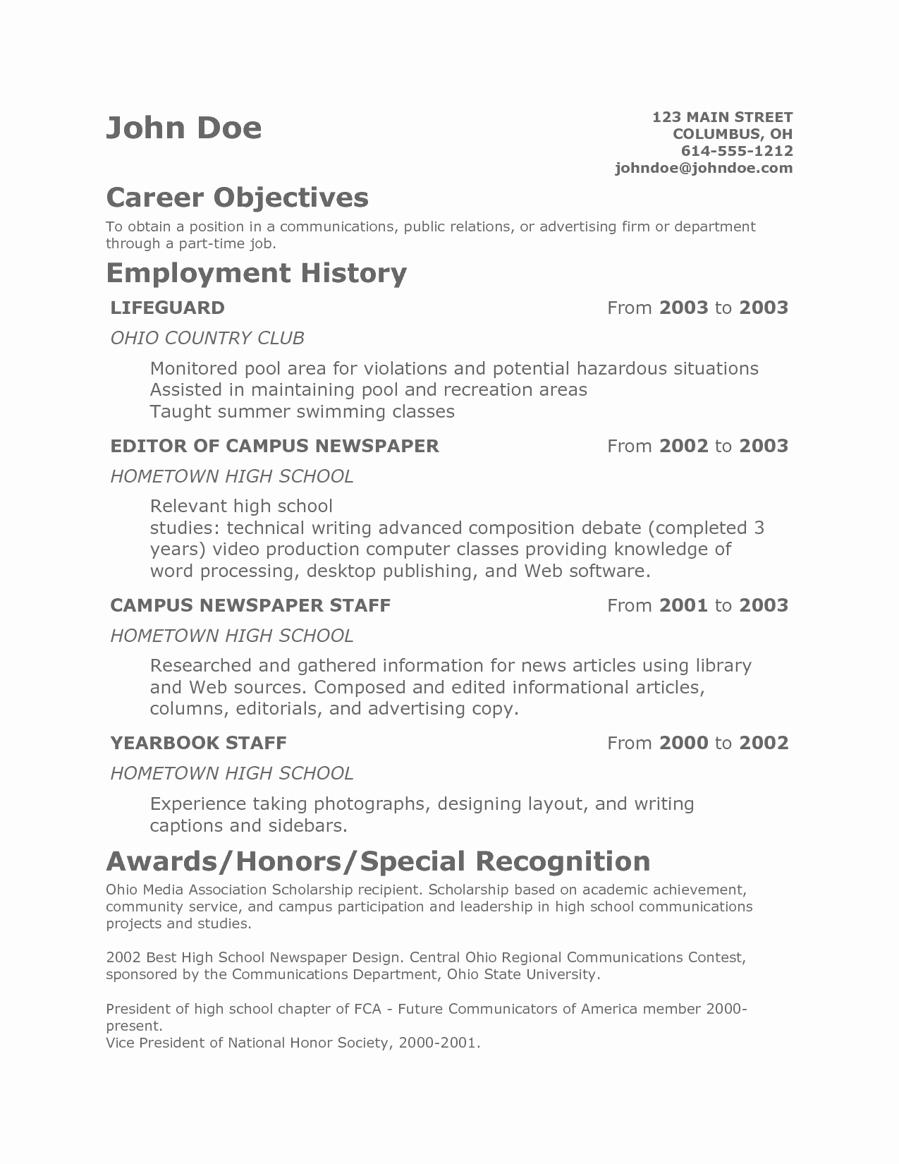 Free Resume Templates For Teens Of Teenager Resume