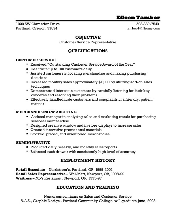 Free Sample Resume For Customer Service