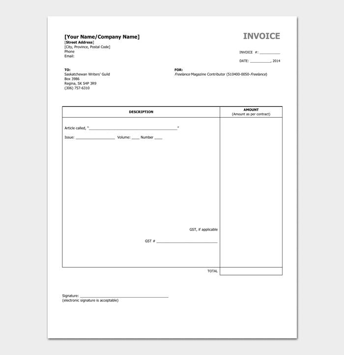 Freelance Invoice Template Word