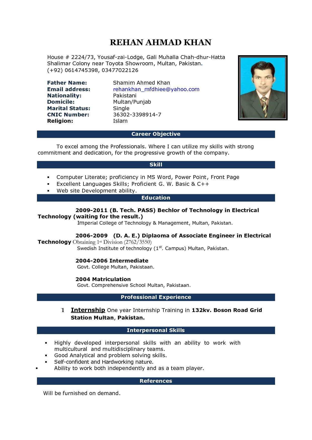Fresher Simple Resume Format Download In Ms Word