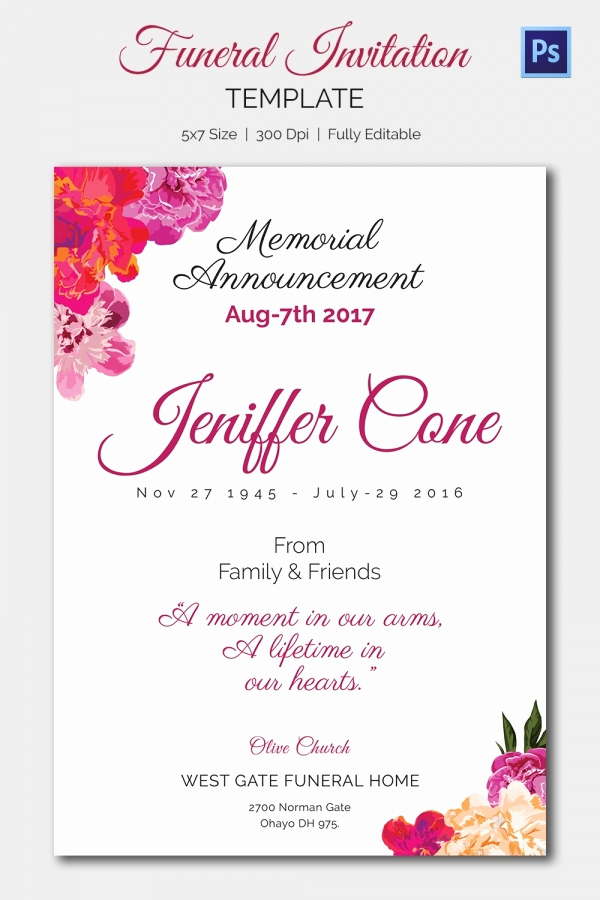 Free Printable Funeral Announcement Template Or Funeral Invitation Template ? 12 Free Psd Vector Eps Ai