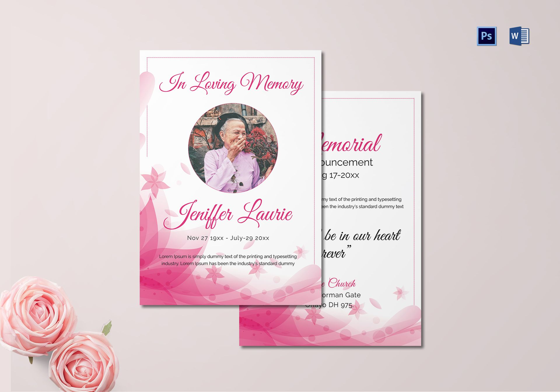 Funeral Announcement Template Word