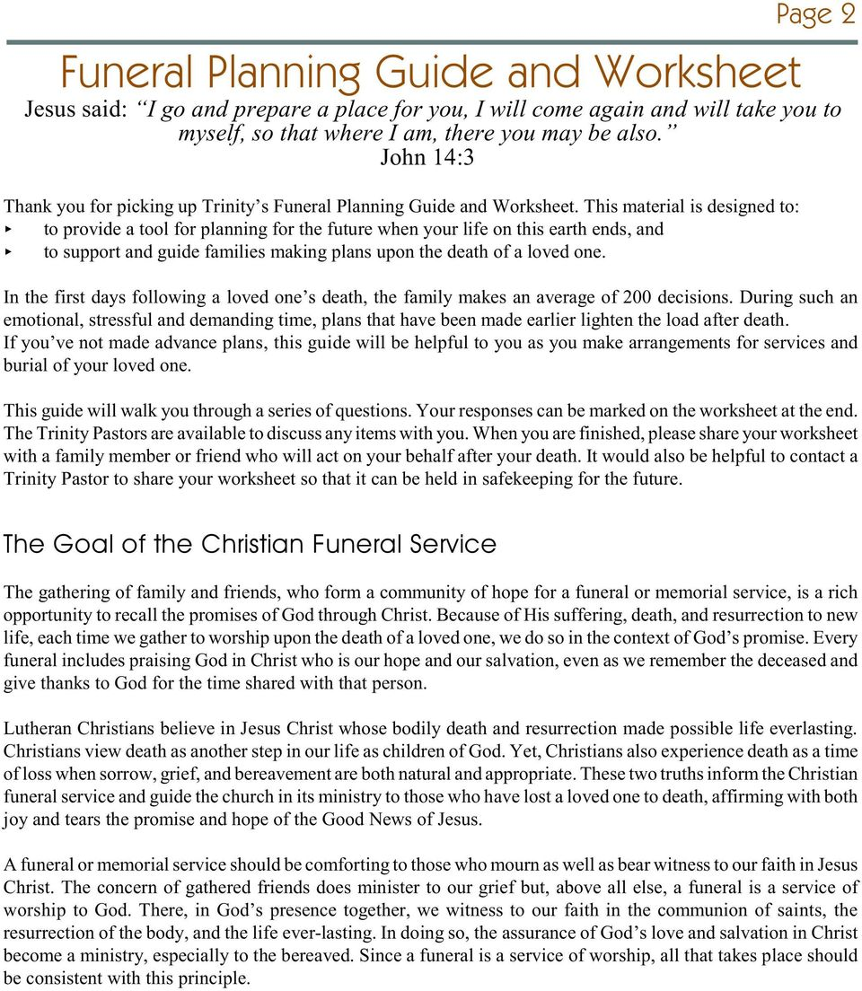 Funeral Planning Guide Worksheet