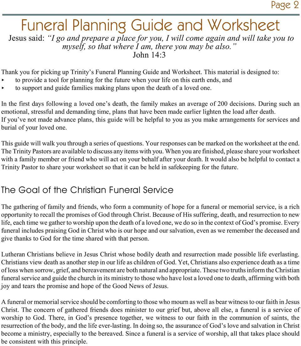Funeral Planning Guide Worksheet