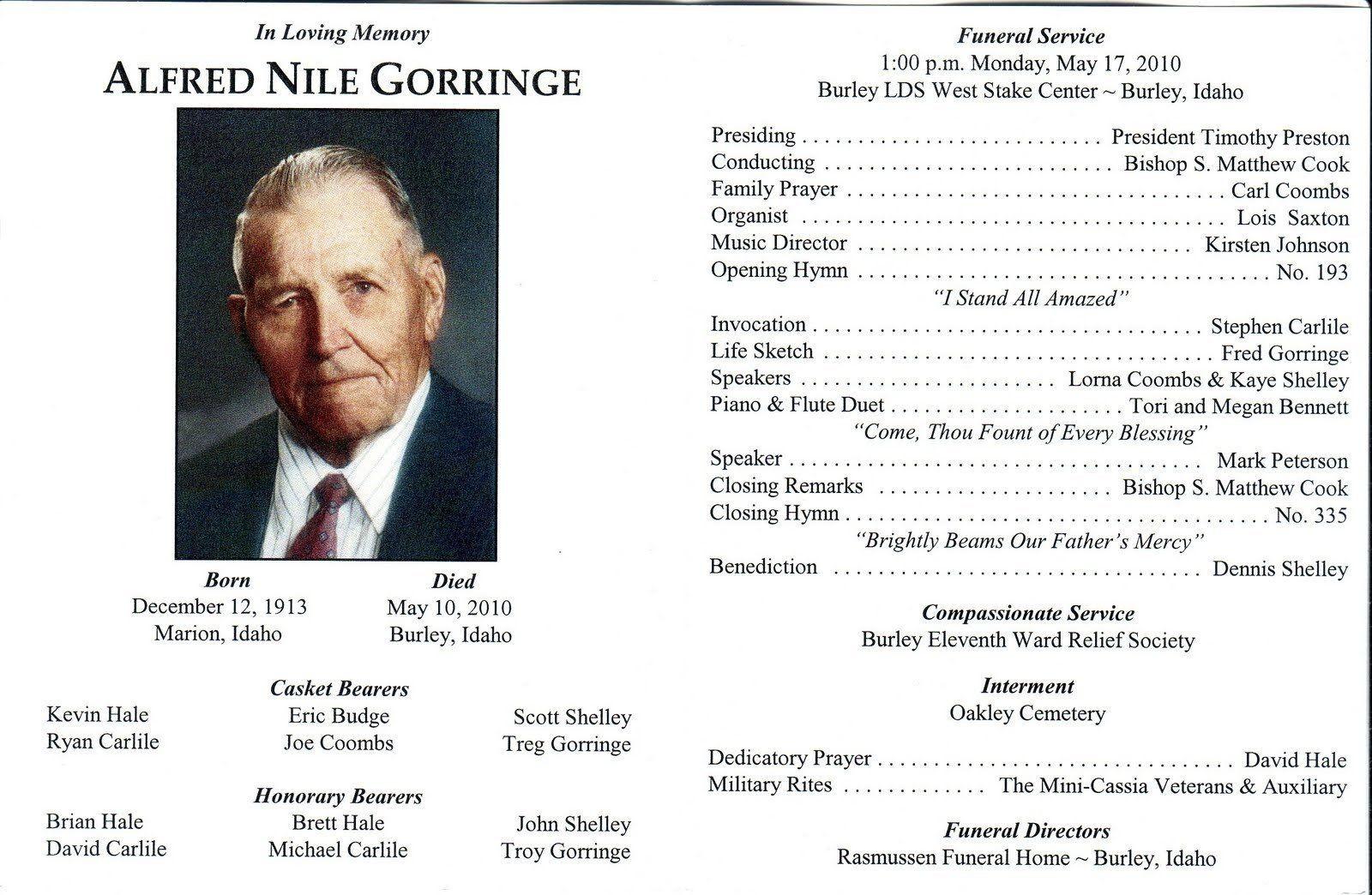 Funeral Program Template Lds