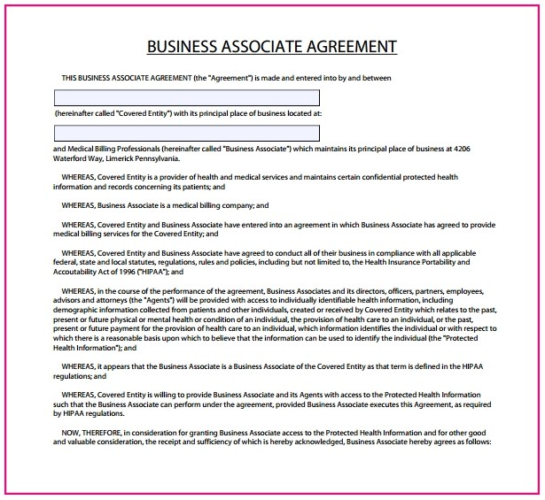 Hipaa Business Associate Agreement Template 2019
