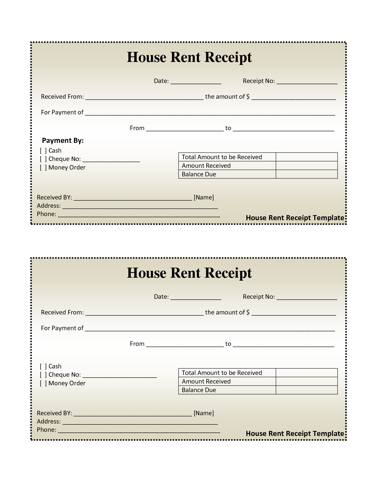 House Rent Invoice Template