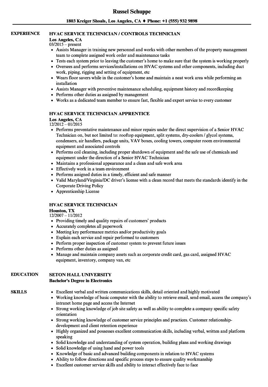 Hvac Service Technician Resume