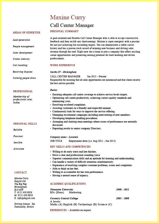 Inbound Call Center Resume Example