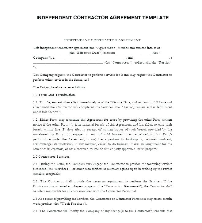 Independent Contractor Agreement Template California