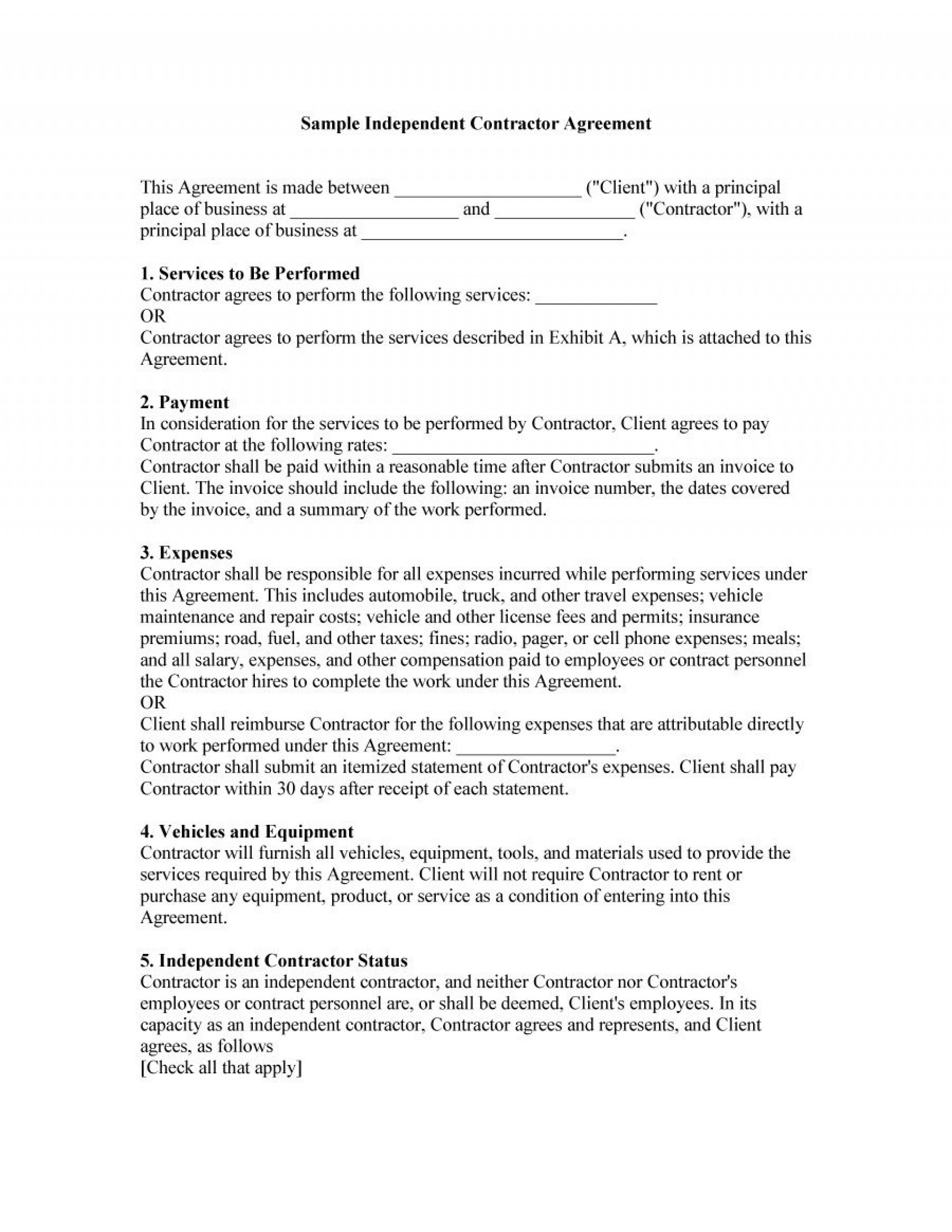 Independent Contractor Agreement Template Free