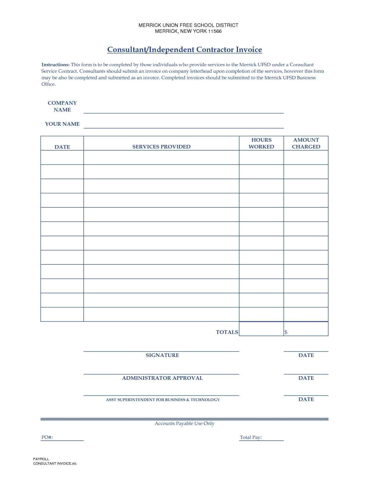 Independent Contractor Invoice Template Google Docs