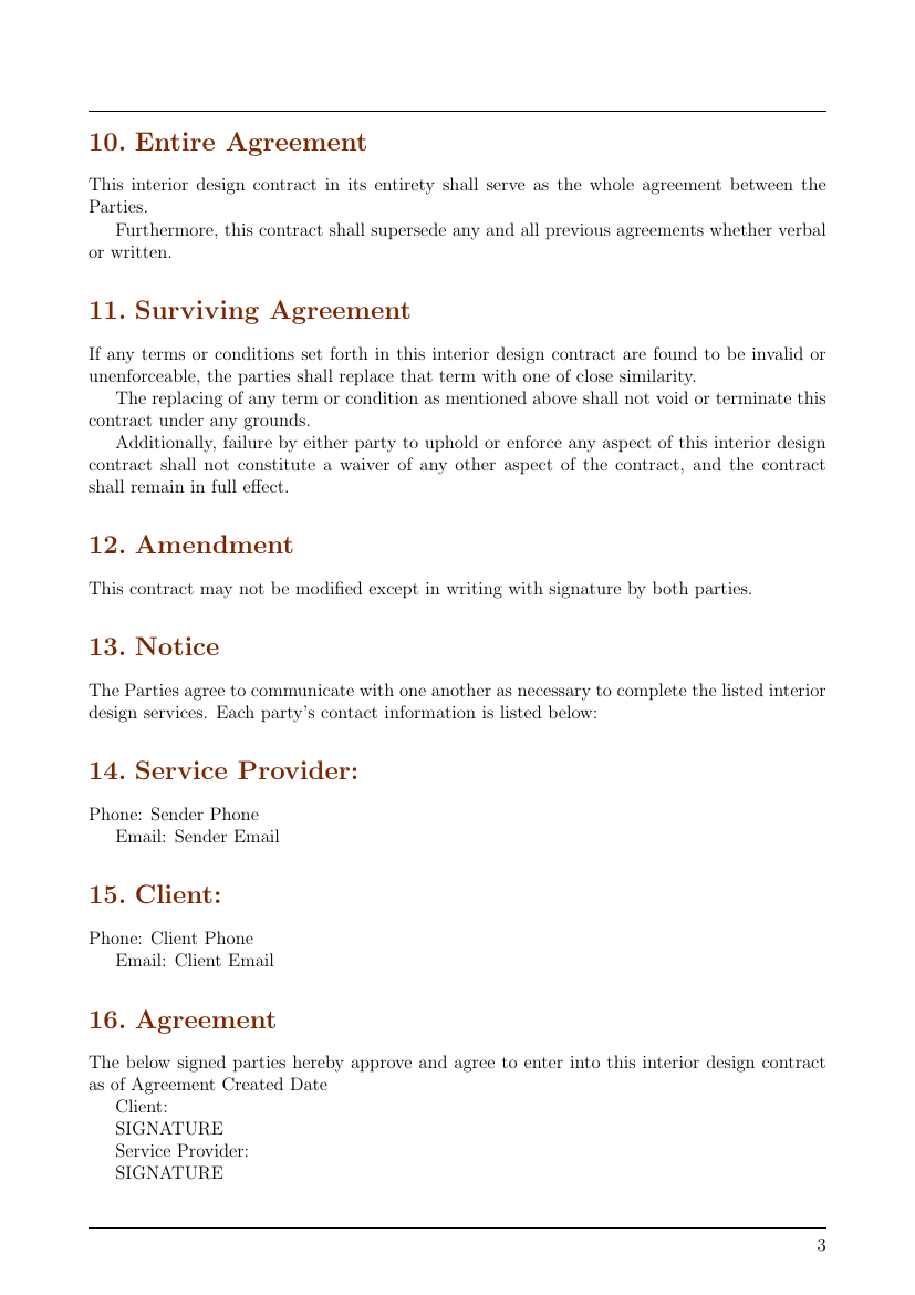 Interior Design Contract Template Australia