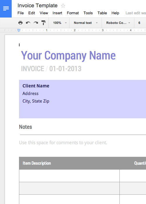 Invoice Template Google Docs Free