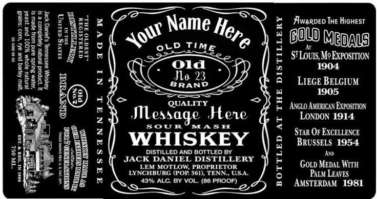 Jack Daniels Bottle Label Template