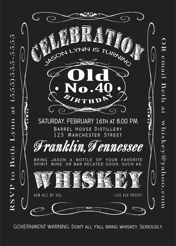 Jack Daniels Printable Invitation Template And 40th Birthday Jack Daniels Whiskey Label Printable