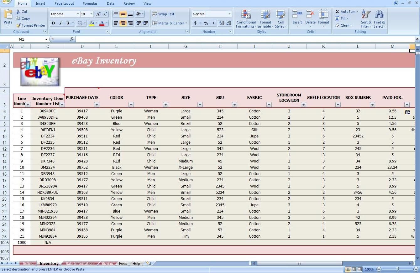 Jewelry Inventory Spreadsheet Template