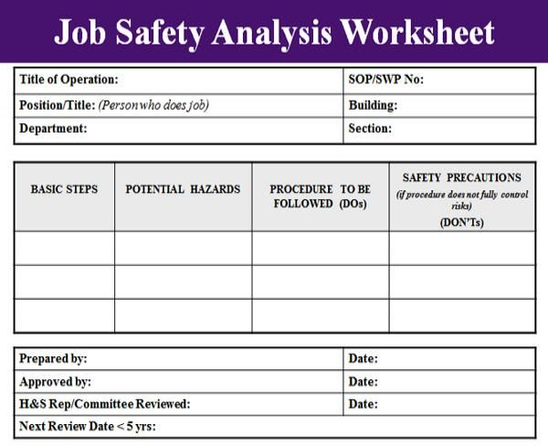 Job Safety Analysis Template Osha