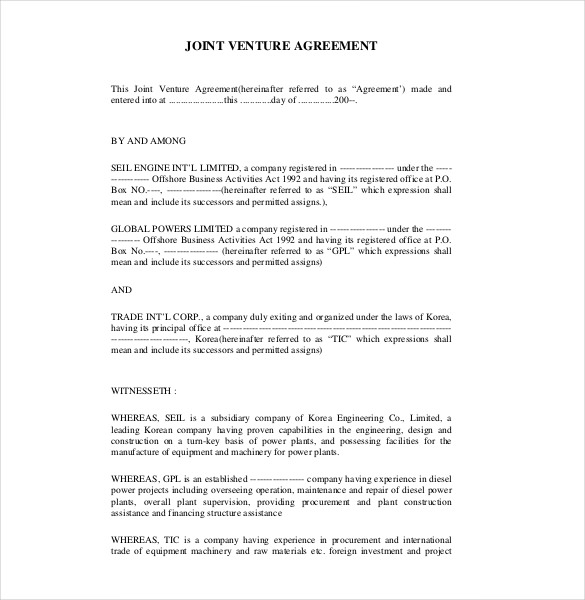 Joint Venture Agreement Template Canada