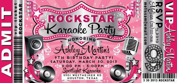 Karaoke Birthday Party Invitation Templates Free
