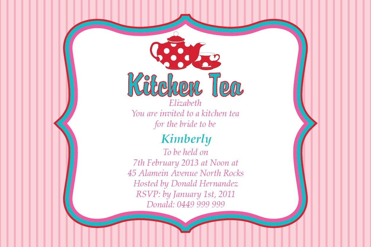 Bridal Shower Invitations Kitchen Templates Tea Gift Ideas Inside Proportions 1252 X 835