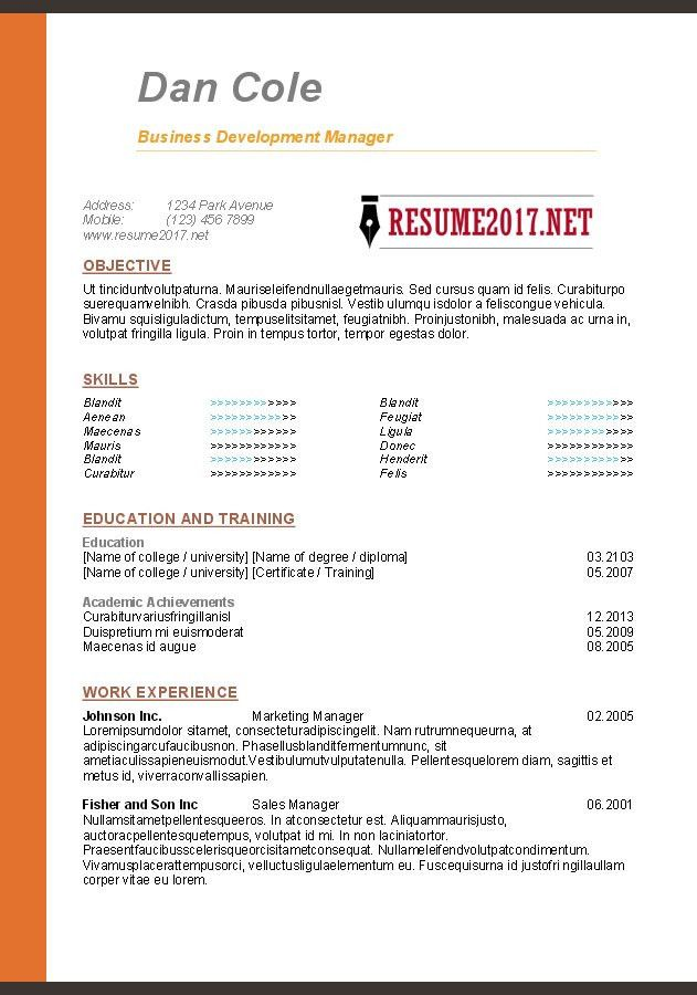 Latest Resume Format Doc Free Download