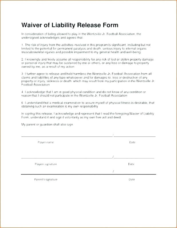 Liability Waiver Template Canada