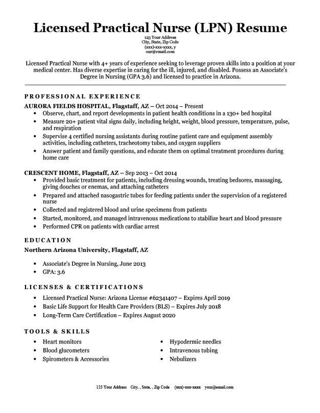 Licensed Practical Nurse Lpn Resume Sample