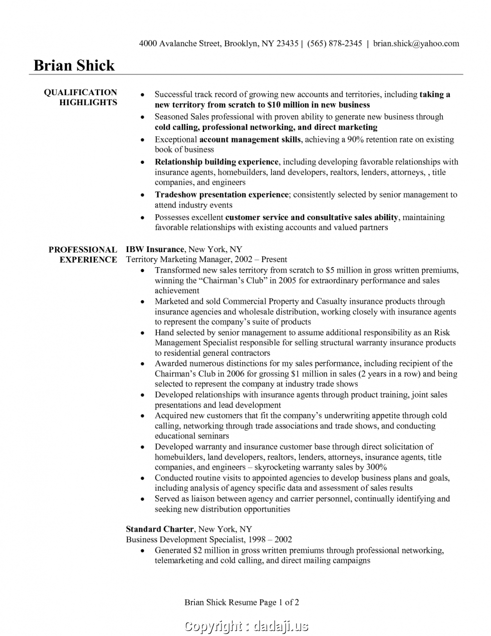 Life Insurance Agent Resume Sample