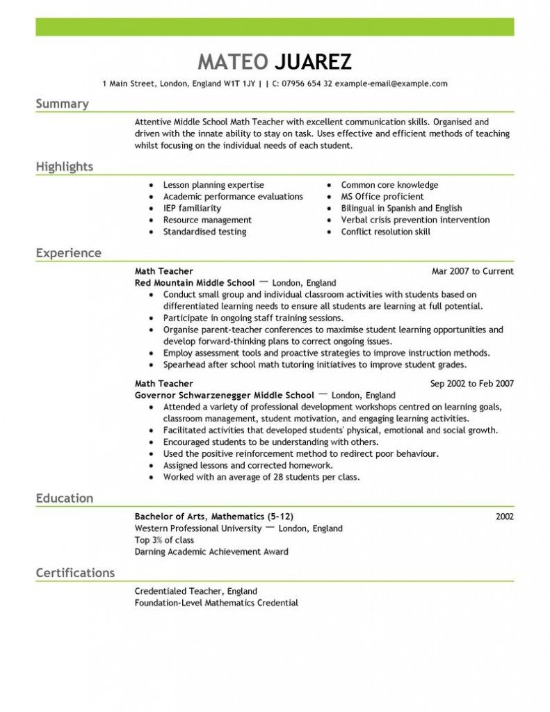 Contemporary Design Resume Education Example | Resume Example ... Maths Teacher Resume Format