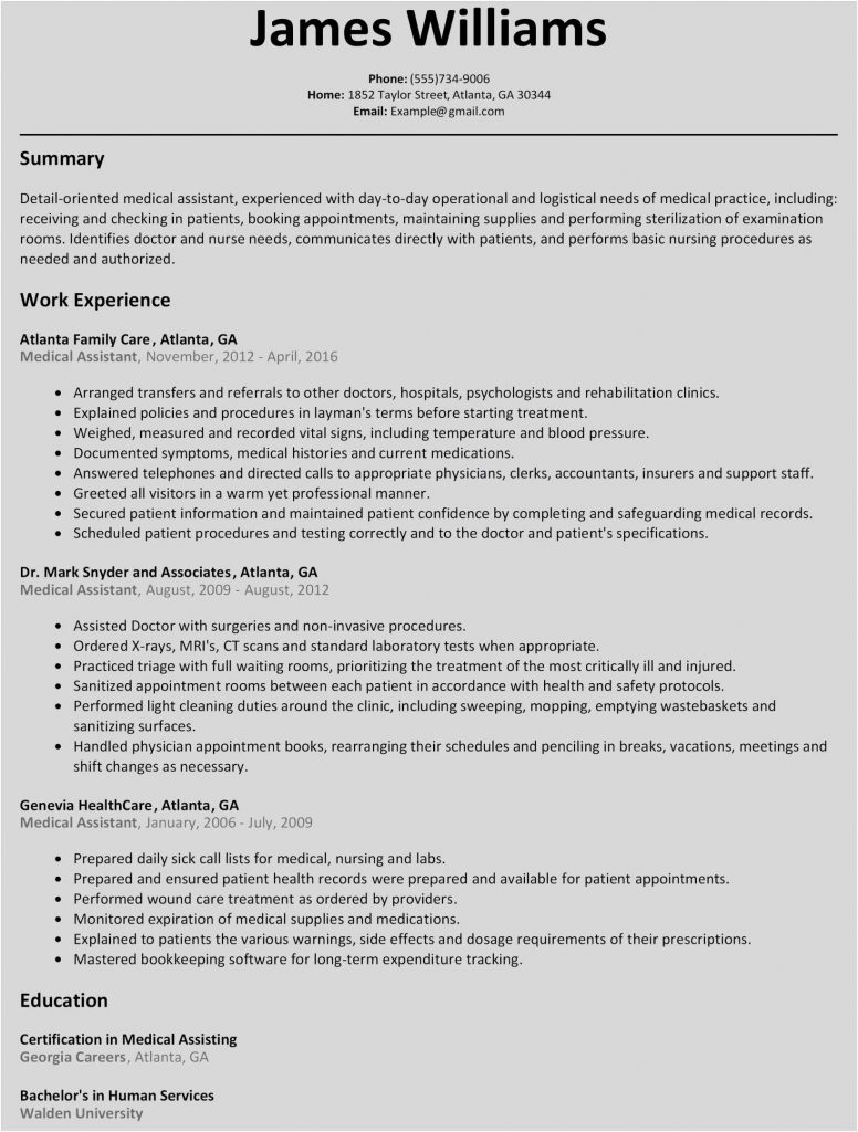 Medical Assistant Resume Template Microsoft Word