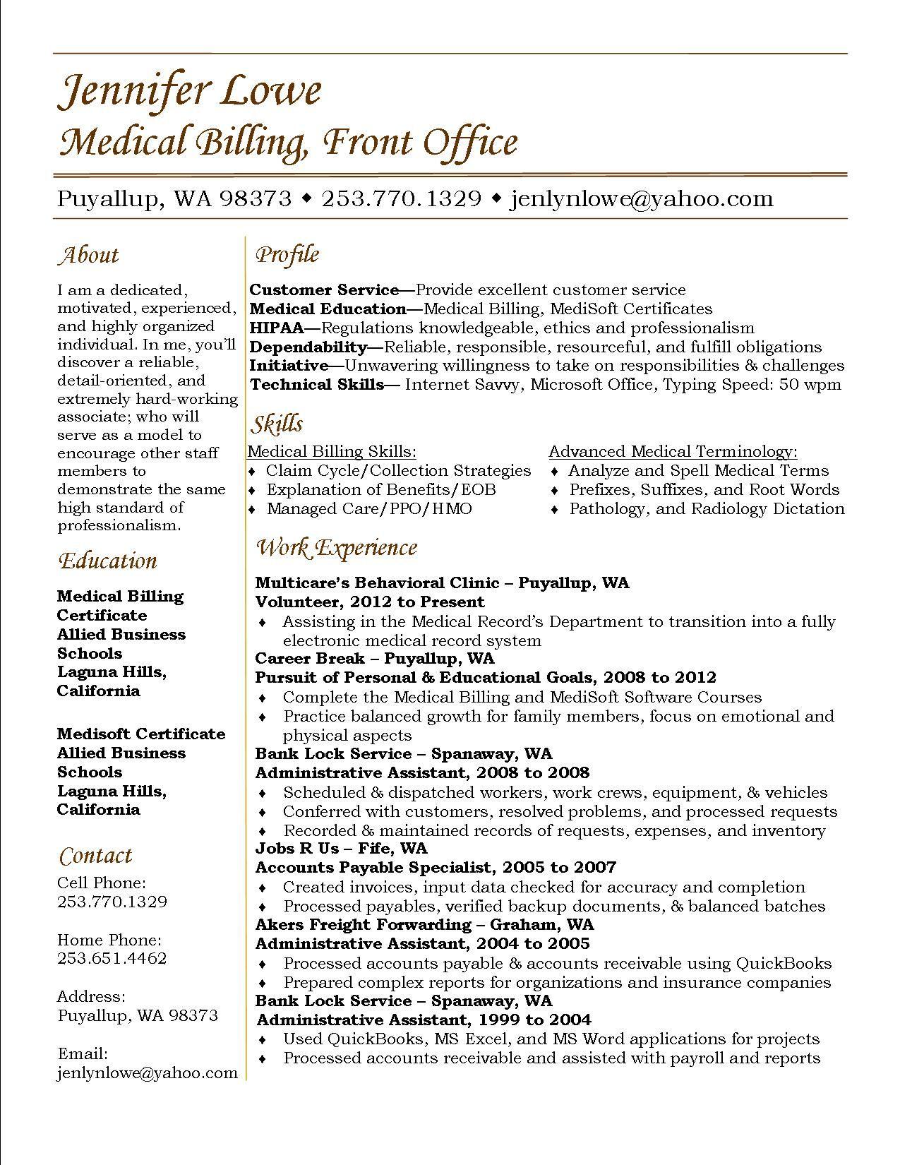 Medical Biller And Coder Resume