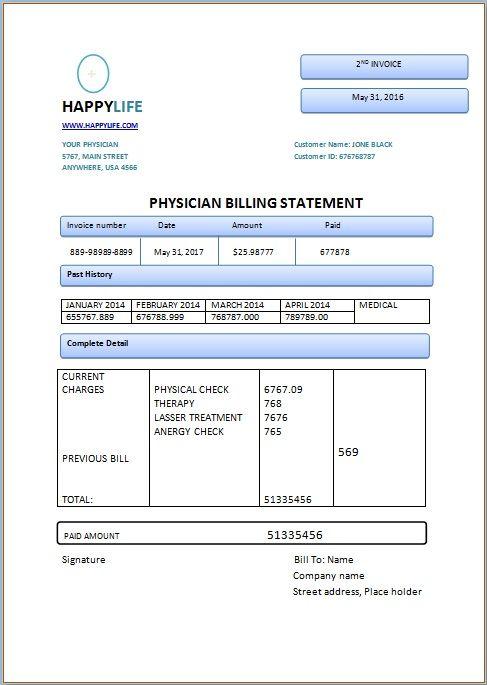 Medical Billing Statement Template