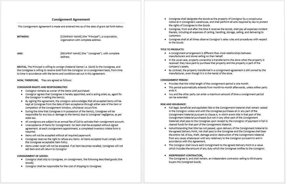 Microsoft Word Consignment Agreement Template