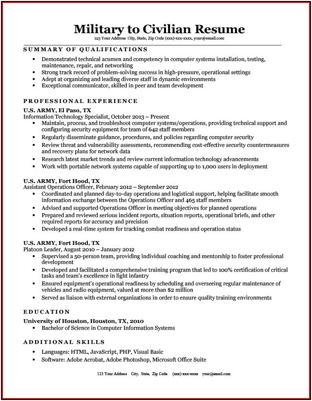 Military To Civilian Resume Writer