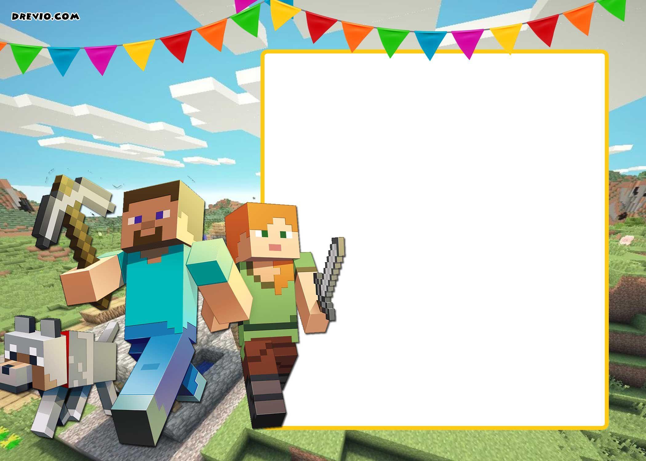 Minecraft Party Invitation Template