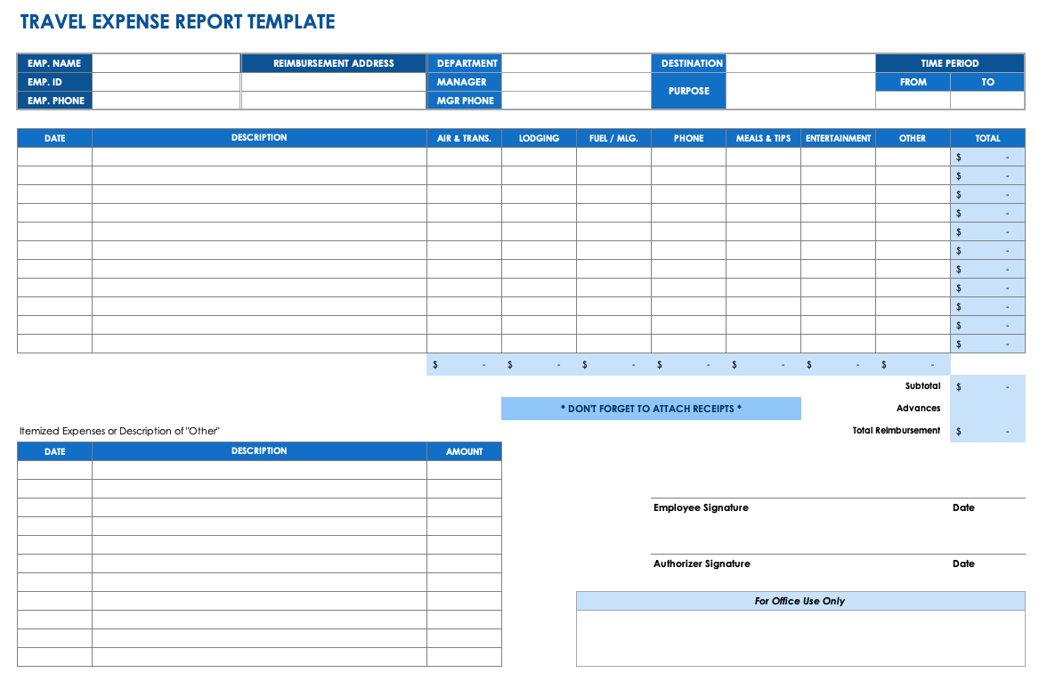 Monthly Expense Report Template Excel Free Download