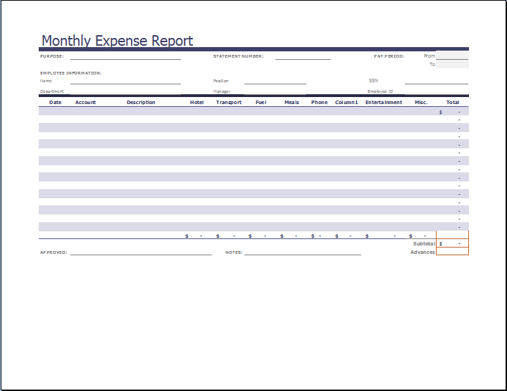 Monthly Expense Report Template Word