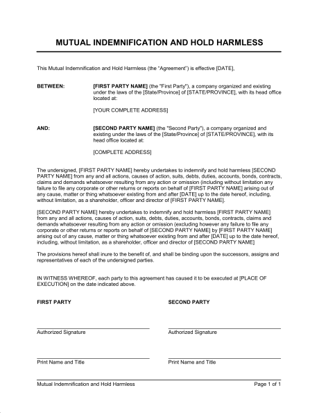 Mutual Hold Harmless Agreement Template