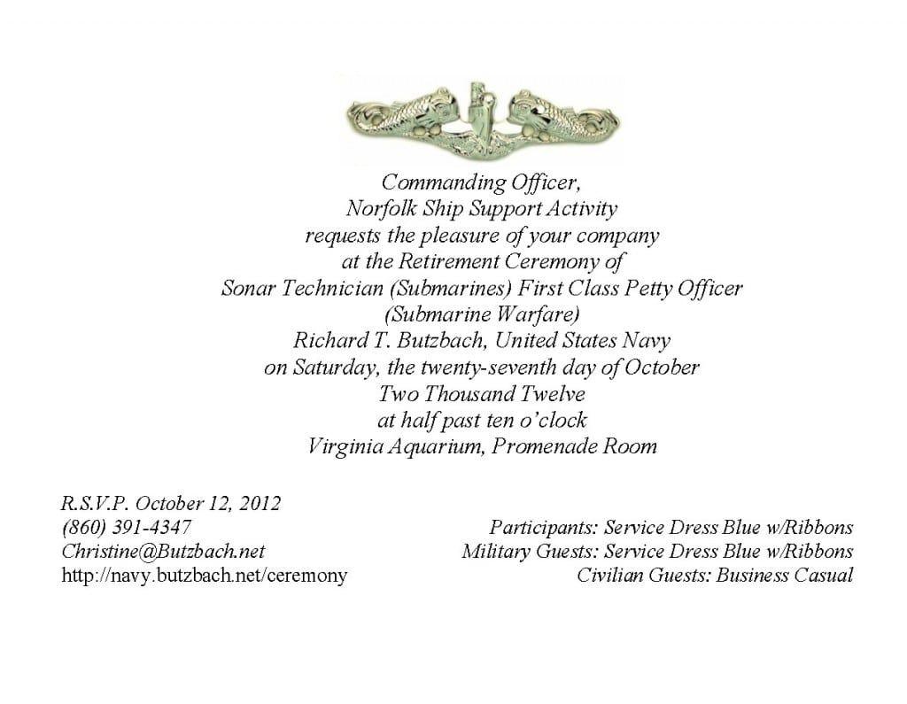 Navy Retirement Invitation Template