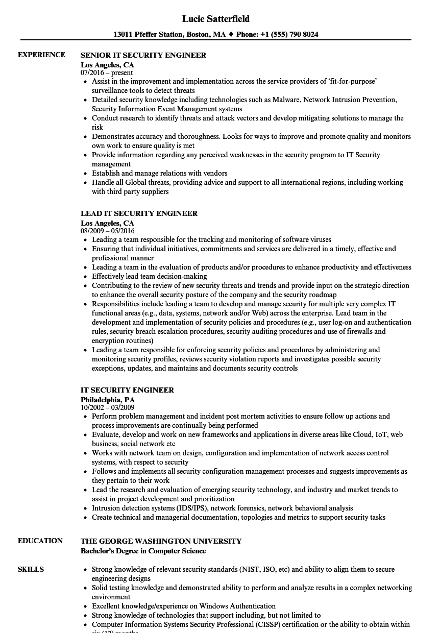 Network Security Engineer Resume Sample With Experience