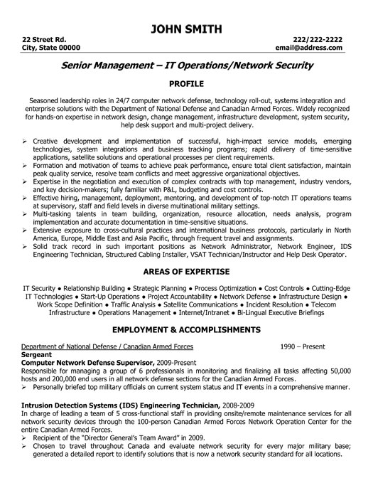 Network Security Resume Sample